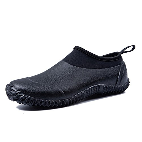 TENGTA Unisex Waterproof Garden Shoes Womens Rain Boots Mens Car Wash Footwear Black 9