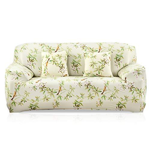 VanderHOME 3 Plazas Funda de Sofá Elástico Cubierta Floral Print Funda Protectora de Poliéster Suave sofá,Verde Claro