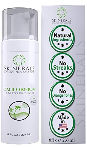Skinerals Californium Self Tanner - Sunless Tanning Mousse -- With Natural and Organic Ingredients - Safe Tan on Body and Face (8 Ounce)