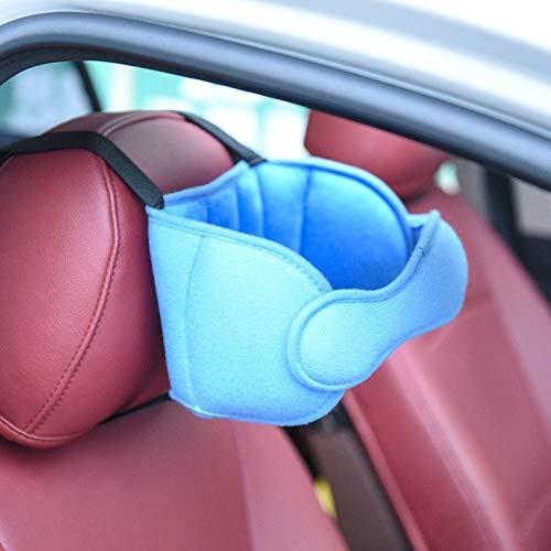Banda ajustable de apoyo para la cabeza del asiento de automóvil para niños/adultos, ofrece una solución cómoda y segura para dormir y protección de seguridad, soporte para el cuello (azul claro)