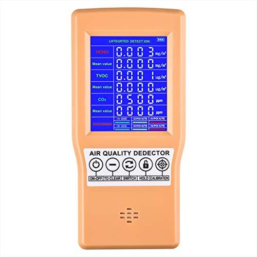 InLoveArts Medidor de calidad de aire formaldehído (HCHO) dispositivo de prueba para polvo fino TVOC monitor AQI multi analizador de gas para casas de coches y al aire libre rechargeable
