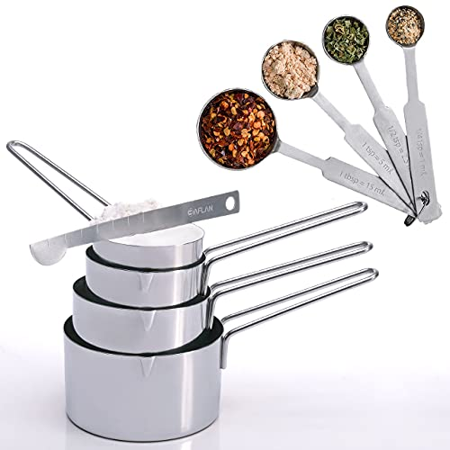 Baflan Stainless Steel Measuring Cups and Spoons Set - 8-Piece Set with...
