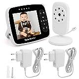 YOUTHINK Baby Monitor 3,5 Zoll Smart Wireless Digital Video Baby Monitor Temperaturüberwachung Überwachungskamera, 2-Wege-Talk, Nachtsicht, Hochleistungsakku(EU (100-240V))