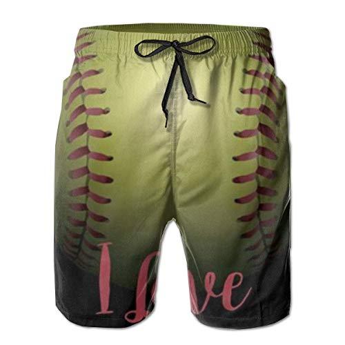 Pantalones Cortos de Playa Informales de Verano para Hombre Pantalones Cortos de baño de Secado rápido - Love Swan Heart, Talla M