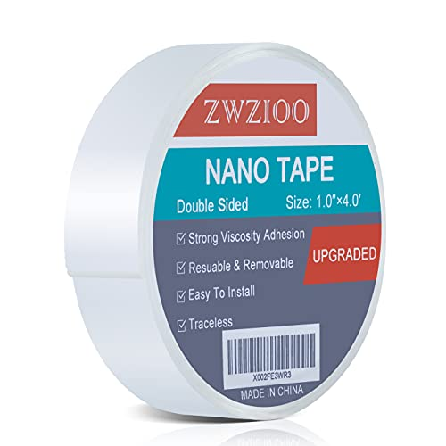 Double Sided Tape Heavy Duty (4FT), Multipurpose Mounting Tape Removable Nano Tape Adhesive Gel Grip, Washable Strong Sticky Wall Tape Strips Transparent Tape Poster Carpet Tape for Home & Office