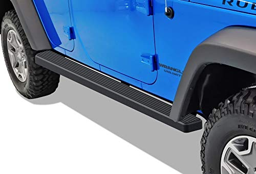 APS iBoard (Black Powder Coated 4 inches) Running Boards Nerf Bars Side Steps Step Rails Compatible with 2007-2018 Wrangler JK