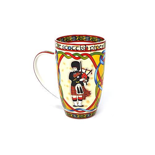 Royal Tara Schottland Piper Pfeifer Kaffee Tee Becher Tasse Keramik Bone China mit Schottisch Rot Keltische Knoten und Hochland Dudelsack Design