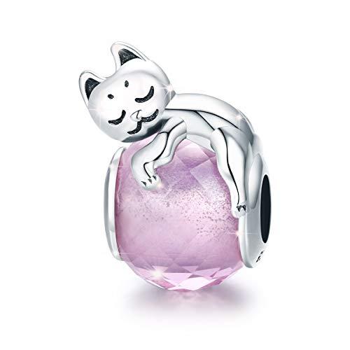 Gatto Ciondolo Lucky pussy Animal Bead charm in argento 925 con zirconi rosa Fit pandora bracciale e collana regalo di festa della mamma per donne e ragazze
