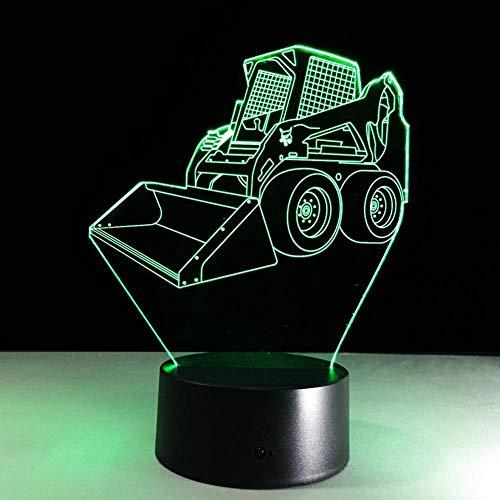 KKLED@ 3D Bulldozer - Visual Täuschungs - Music 7 farbwechselnde LED-Nachtlichtlampe mit Acryl- / ABS-Kunststoffsockel Flache Nudel USB-Ladetische Schreibtisch Schlafzimmer Dekoratives Licht