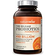 NatureWise Max Probiotics for Men and Women   Time-Release, 30 Strains, Comparable to 450 Billion CFU with WiseBiotics Technology, Shelf Stable, Acid Resistant   40 Caplets