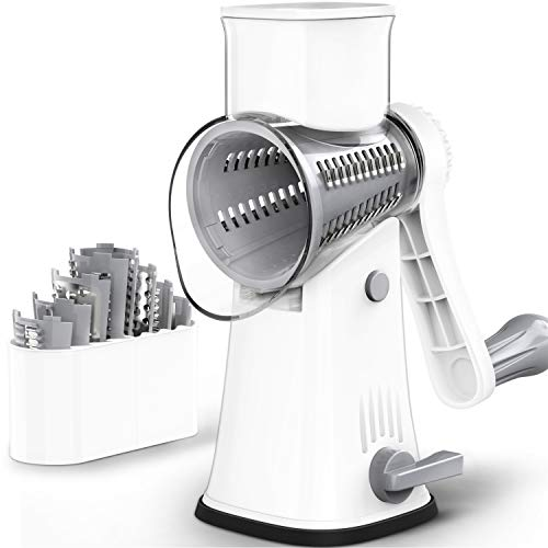 SWATOW Cheese Grater, Latest Upgrade 5 in 1 Rotary Cheese Grater, Graters for Kitchen with 5 Stainless Steel Drum Blades, Easy to Clean Cheese Shredder for Fruit,Vegetables,Nuts-White