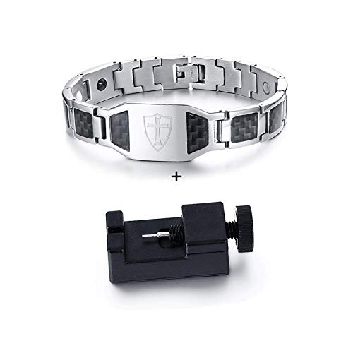 JPDP Can Engrave ID Bracelets For Men Cross Magnetic Bracelet For Men Stainless Steel Black Carbon Fiber Magnetic Energy Bracelet For Male-silver_with_tool