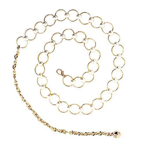 Milya Damen Mode Metall Gürtelkette Taillenkette Kettengürtel für Kleid Bluse Weiß Kügelchen