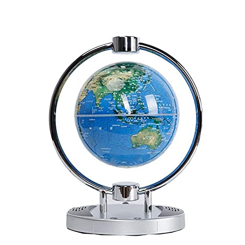 WZMPH Globo Flotante con Luces LED Levitación magnética Redonda Bola Flotante Mapa del Mundo Levitación magnética antitraveridad Levitación magnética Mapa del Mundo rotativo,Azul