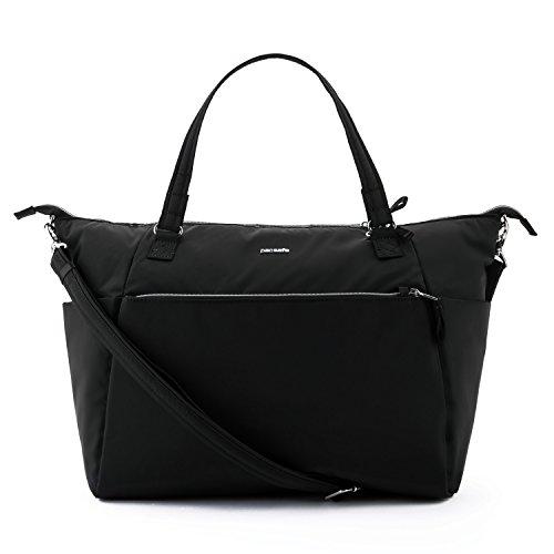 Pacsafe Stylesafe Tote Shoppertasche, Schultertasche für Damen, Handtasche mit Diebstahlschutz, Umhängetasche mit Sicherheits-Features, 14,5 Liter, Schwarz/Black