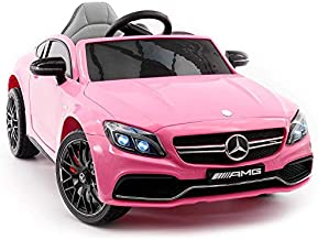 2021 C63S Battery Powered 12V Kids Ride-ON Toy CAR with R/C Parental Remote MP3 Player LED Wheels (Pink)