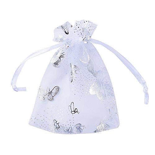 100pcs Bolsas Bolsitas Organza Blancas Mariposas 9x12 cm Saquitos Arroz Regalo Joyas Caramelo Dulces Recuerdo Favores Detalles para Boda Fiesta Navidad Bautizo con Cintas