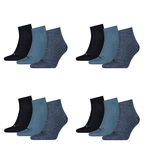 Puma Unisex Quarter Quarters Socken 12er Pack (43-46, denim blue)