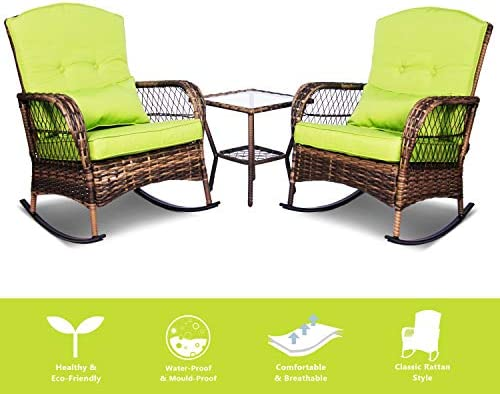 Best ENSTVER 3 Pieces Patio Conversation Set w/ 2 Rattan Wicker Rocking Chairs and Glass Table,for Garden