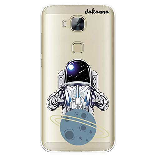 dakanna Funda Compatible con [Huawei G8 - GX8] de Silicona Flexible, Dibujo Diseño [Astronauta en Espacio y Planeta], Color [Fondo Transparente] Carcasa Case Cover de Gel TPU para Smartphone