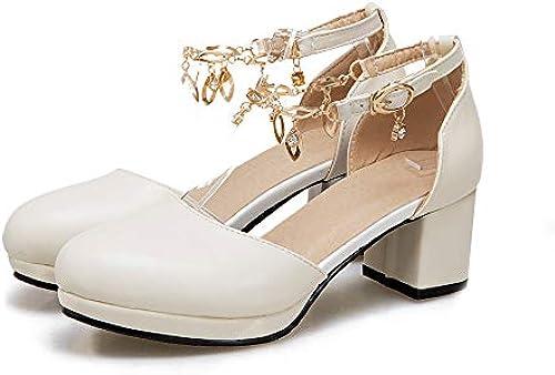 MENGLTX High Heels Sandalen Sandalen Sandalen Neue Ankunft Frau Pumpt Frühling Sommer Runde Kappe Mode Schuhe Einfache Schnalle Kleid Schuhe Größe Größe 34-43 Schuhe Frau  Ihre Zufriedenheit ist unser Ziel