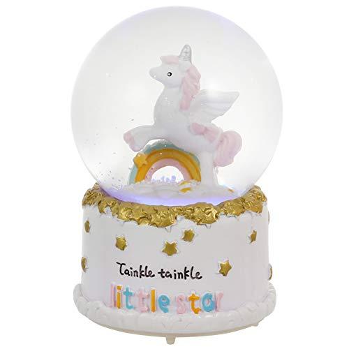 BESPORTBLE - Bola de nieve musical con diseño de unicornio arcoíris