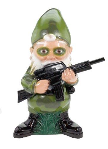 RAKSO Gartenzwerg Soldat aus bruchfestem PVC Zwerg - Made in Germany Figur Einzelkämpfer