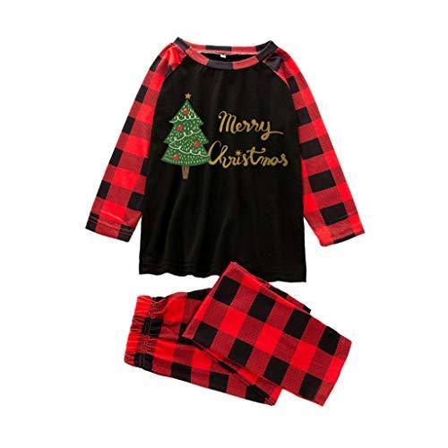 Mirlise Christmas Women Mom Printed Letter Top+Stripe Pants Xmas Family Clothes Pajamas