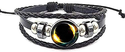ZHIFUBA Co.,Ltd Collar para Boda Joyería Vintage Pulsera y brazaletes de Cuero Negro Moda Encanto de Cristal Galaxy Regalo