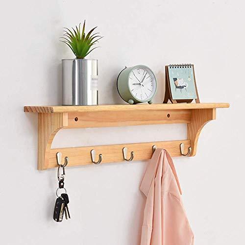 TELLMNZ Wandgarderobe Wandregal aus Holz mit Haken für den Flureingang Wohnzimmer Schlafzimmer Küche Badezimmer - Kiefer Wandhalter (Farbe: 5 Haken)