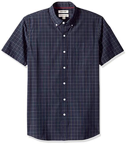 Amazon Brand - Goodthreads Men's Standard-Fit Short-Sleeve Plaid Poplin Shirt, -navy windowpane, Small