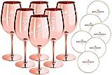 Juego de 6 copas de champán Moet & Chandon, color oro rosado (edición limitada), Ibiza Imperial, cristal puro, copas de champán, oro rosa