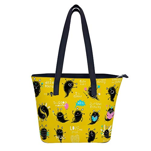 SARA NELL Women's Leather Tote Shoulder Bags Funny Monster Actions Big Bundle Clip Art Handbags for Work Travel Business Beach Shopping School