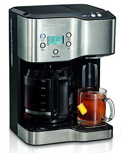 Hamilton Beach 49982 Programmable Coffee Maker & Hot Water Dispenser, 2-Way, Black and Stainless (Renewed)