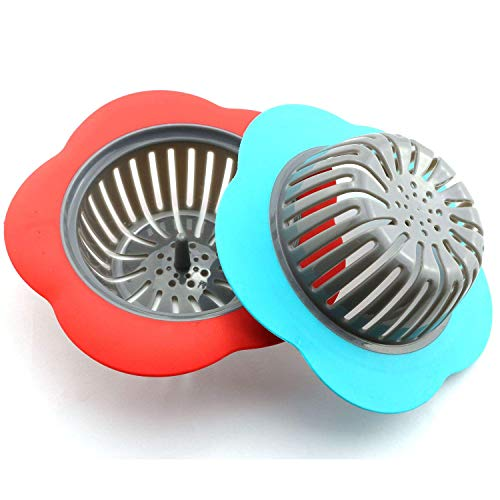 2-Pack Plastic Sink Strainer Kitchen Bathroom Tools Flower Shaped Anti Blocking Sink Drains Cover Filter 11.5x3.9cm (Blue + Red)
