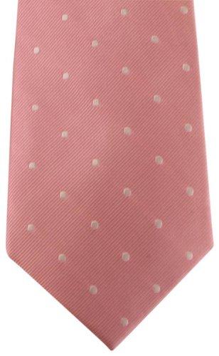 David Van Hagen / Blanc Polka Dot cravate rose de