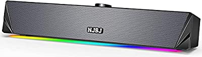 NJSJ Computer Soundbar Speaker,2.0 USB Powered Wired PC Sound bar,10W 360 Surround Sound & Rich Stereo Bass,RGB LED Lights, 3.5mm Aux Input Gaming Speaker for Desktop,Laptop,Cellphone,TV from NJSJ