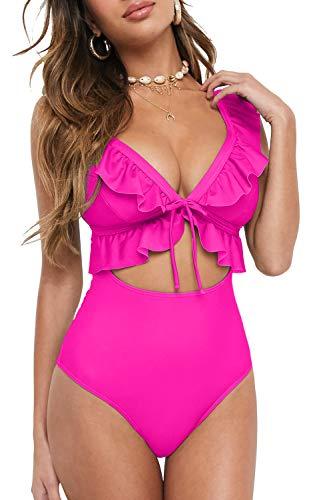 QINSEN Tummy Control Swimsuits for Women Cutour Monokini Swimwear Cheeky High Waisted One Piece Bathing Suit XL