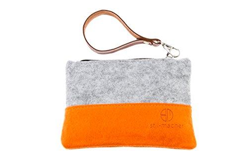 Stil-Macher Taschenorganizer aus Filz – Schminktasche – Makeup Tasche - Handtaschen-Organizer – Geldbörse - Portemonnaie - Geldbeutel - Kulturtasche - Geldbeutel … (grau-orange)