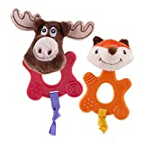Nuby 2pk Teethin' Pals Chew Toy, Fox & Moose