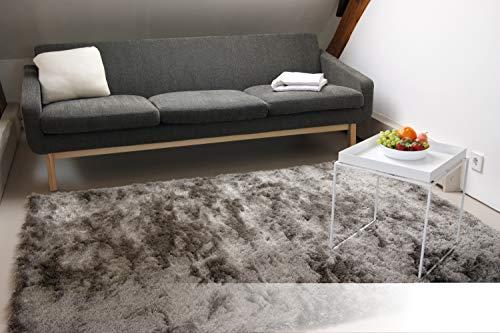 Exklusiver Hochflor Shaggy Teppich Satin Silber/grau 140x200 cm - edler, seidig glänzender Teppich