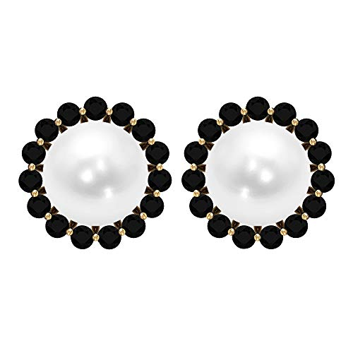 Solitaire - Pendientes de perla de agua dulce (6,45 quilates, perlas de agua dulce, con halo de espinela, antiguo, para novia, boda, pendientes, 10K Oro amarillo, Par