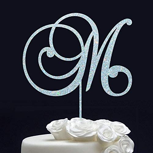 Monogram Cake Topper Wedding Cake Topper Letter M Initial Cake Topper for Wedding Personalized product image