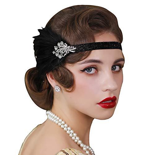 SWEETV 1920er Jahre Flapper Stirnband Great Gatsby Feather Kopfbedeckung Brüllende 20er Jahre Vintage Hair Accessories