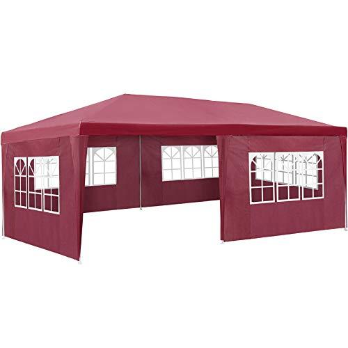 TecTake 800382 Carpa Pabellón 6x3m | 5 Paneles Laterales | Tiendas Eventos & Fiestas Jardin (Rojo | No. 402305)