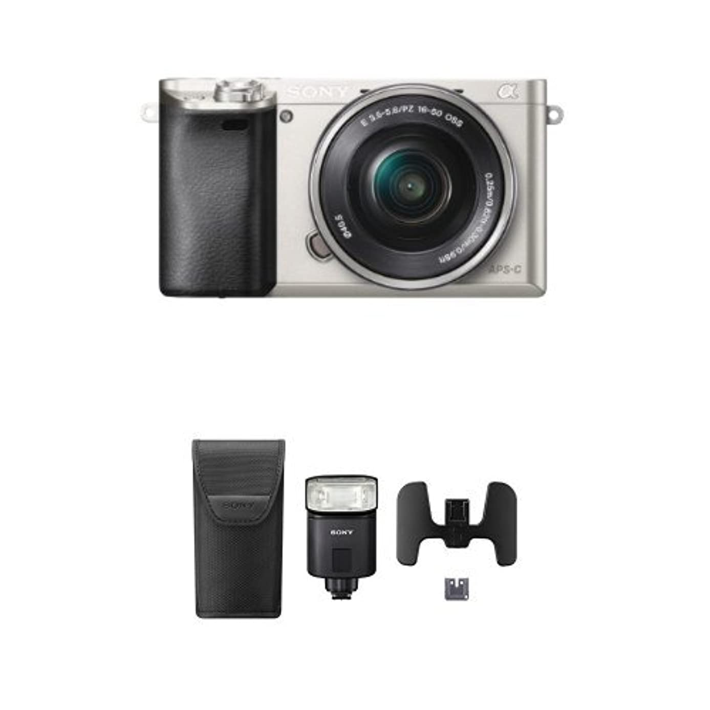 Sony Alpha a6000 Mirrorless Digital Camera with 16-50mm Power Zoom Lens (Silver) with Flash Bundle