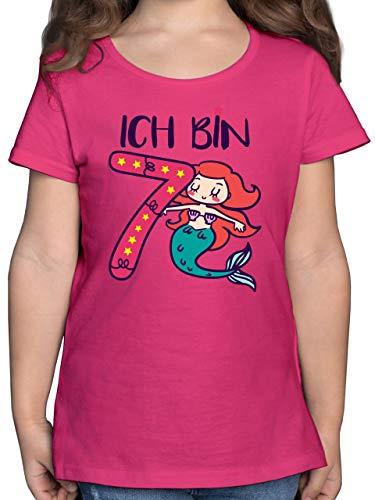 Kindergeburtstag Geschenk - Ich Bin 7 Meerjungfrau - 140 (9/11 Jahre) - Fuchsia - meerjungfrau Geburtstag Tshirt 7 - F131K - Mädchen Kinder T-Shirt