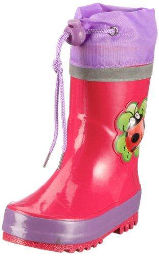 Playshoes Unisex-Kinder Gummistiefel aus Naturkautschuk, Trendige Regenstiefel mit Reflektoren, mit Käfer-Motiv, pink, 30/31 EU