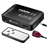 HDMI Switch HDMI Switcher 3 Port with IR Remote Control Supports HDR & HDCP 2.2 4k@60Hz 3D 1080P for PS4 Xbox one Apple TV Blue-Ray Player Laptop HDTV etc
