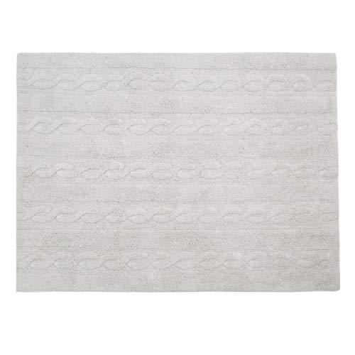 Lorena Canals - Trenzas Gris Perla / Braids Pearl grey - Gris perla - 97 % algodón 3 % otras fibras. Base: Algodón reciclado - 120x160 cm